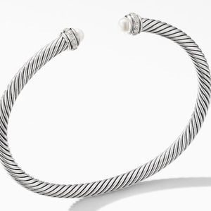 David Yurman Cable Pearl and Diamond Bracelet